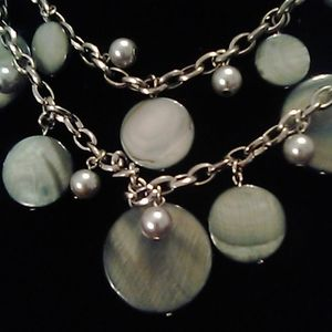 Chico's Triple Layer Silver Disc & Beaded Necklace